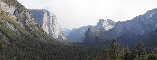 Stitched Panorama of Yosemite Valley with El Capitan and Cathedral Peak